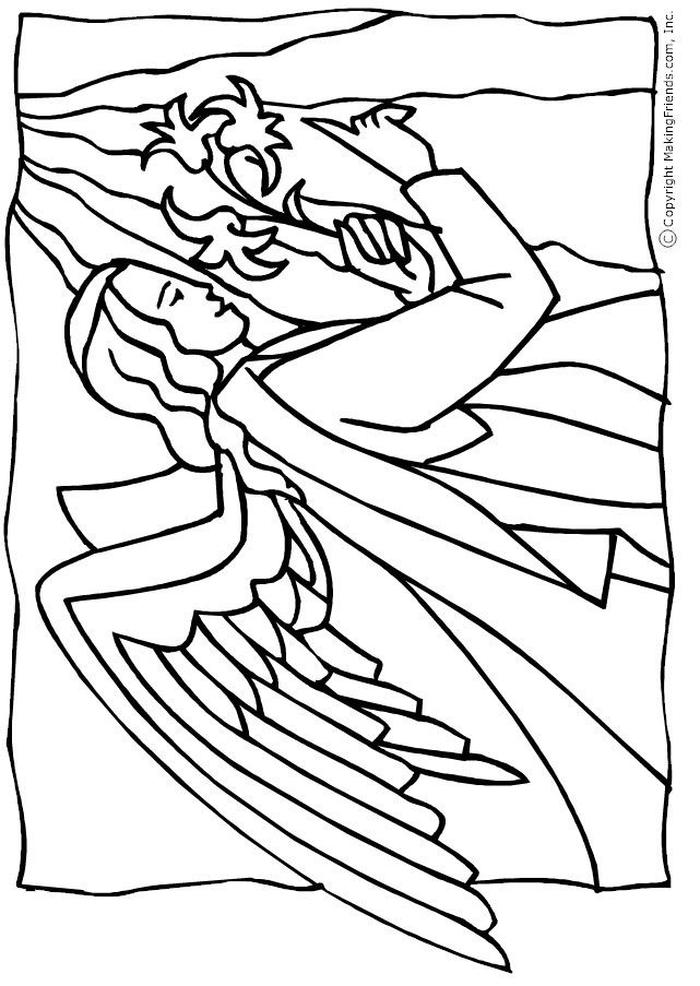angel-lillies-coloring-page