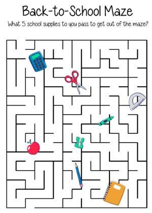 free printable back to school maze