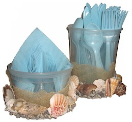Image of Seashell Utensil and Napkin Holder