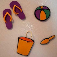 Foam Beach Refrigerator Magnets or Swaps