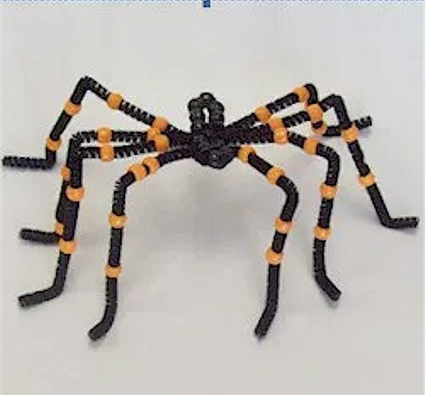 Fun Beaded Halloween Spider made from pipe cleaners and pony beads.