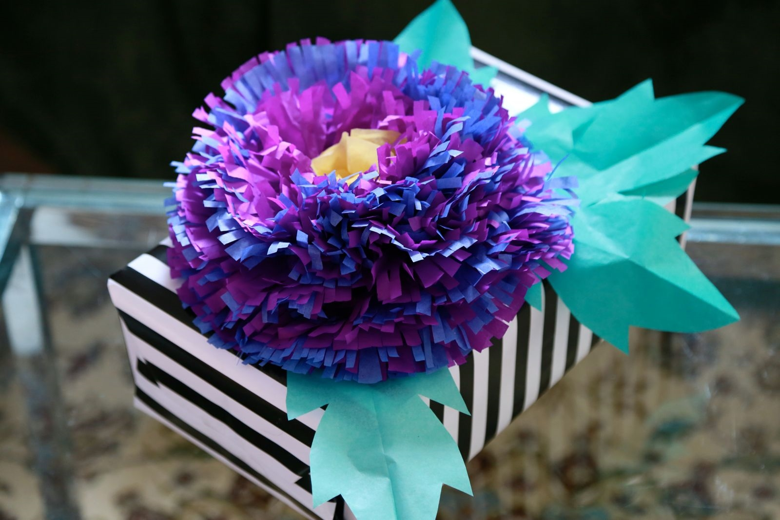 Fringed tissue paper flower decoration for Decorative flowers for crafts