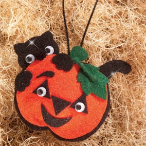 Image of Make A Black Cat And Pumpkin Halloween Ornament