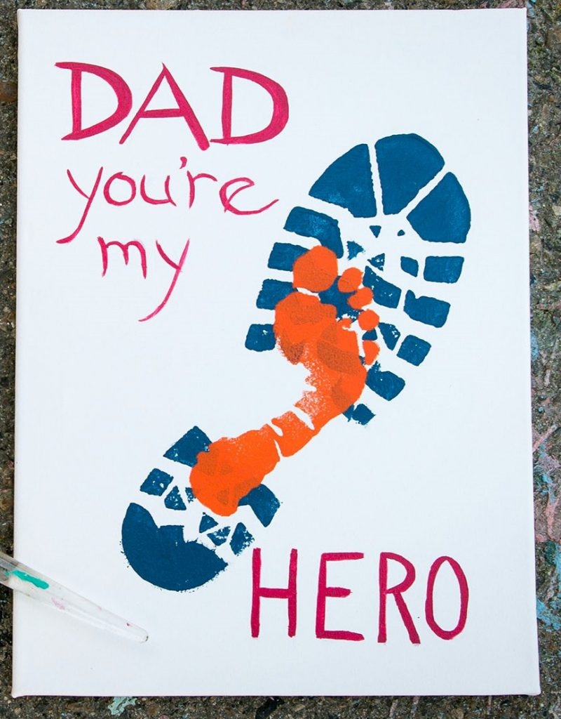 Image of Boot and Footprint Art for Fathers Day
