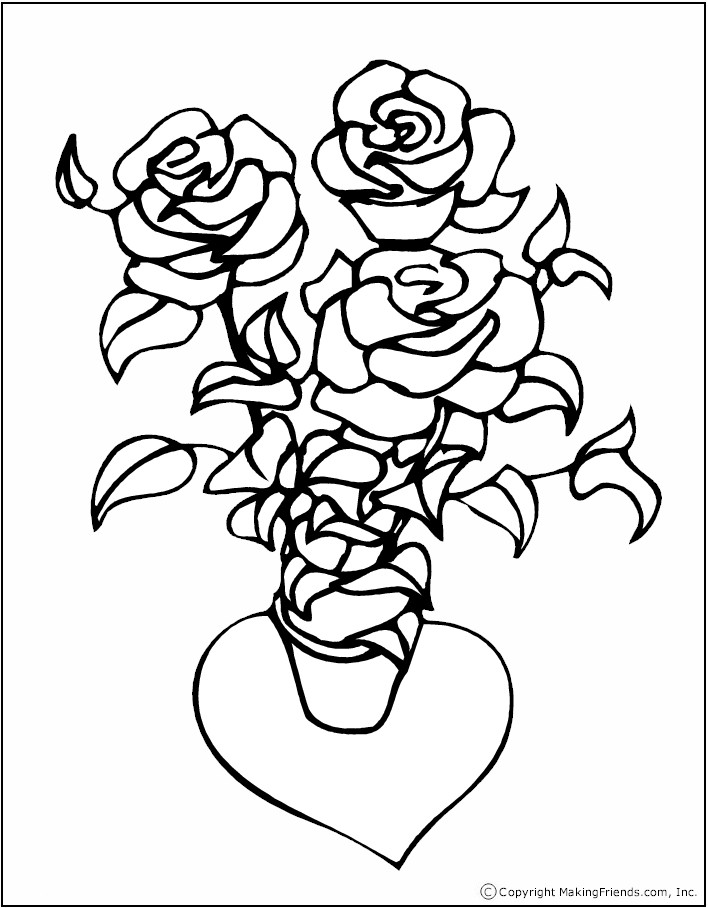 bouquet-valentine-coloring-page - Free Kids Crafts