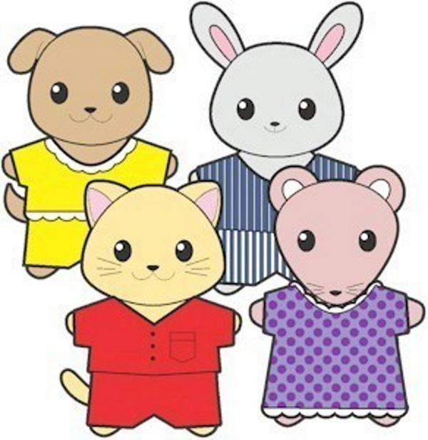 Printable Pajama Buddies Paper Dolls