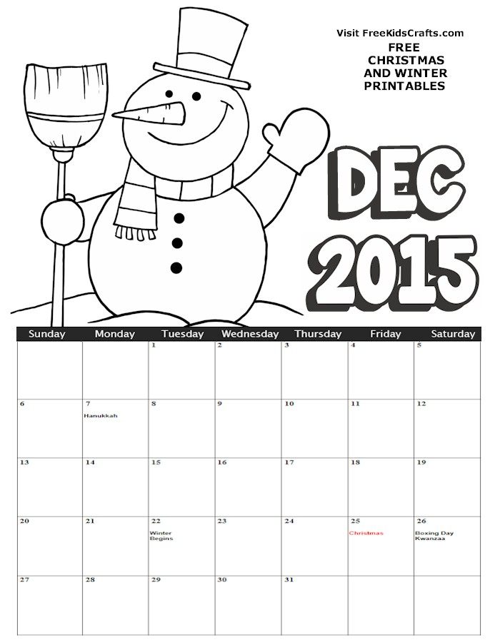 Image of 2015 December Coloring Calendar