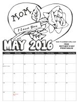 Image of 2016 May Coloring Calendar