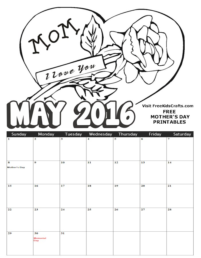 Image of 2016 March Coloring Calendar
