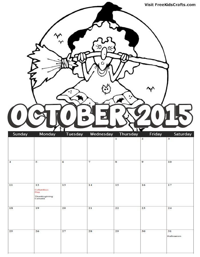 Image of 2015 October Coloring Calendar
