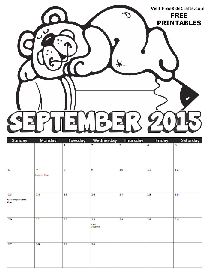 Image of 2015 September Coloring Calendar