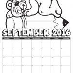 2016 September Coloring Calendar