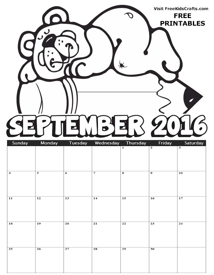 Image of 2016 September Coloring Calendar