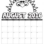 2016 August Coloring Calendar