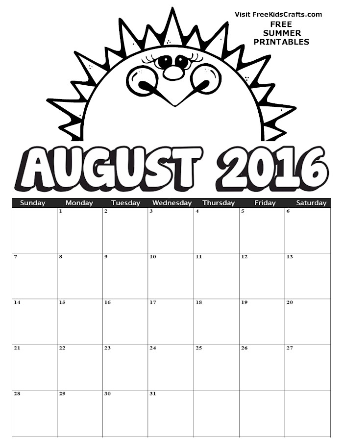 Image of 2016 August Coloring Calendar