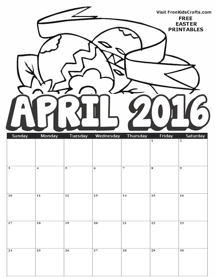 Image of 2016 April Calendar