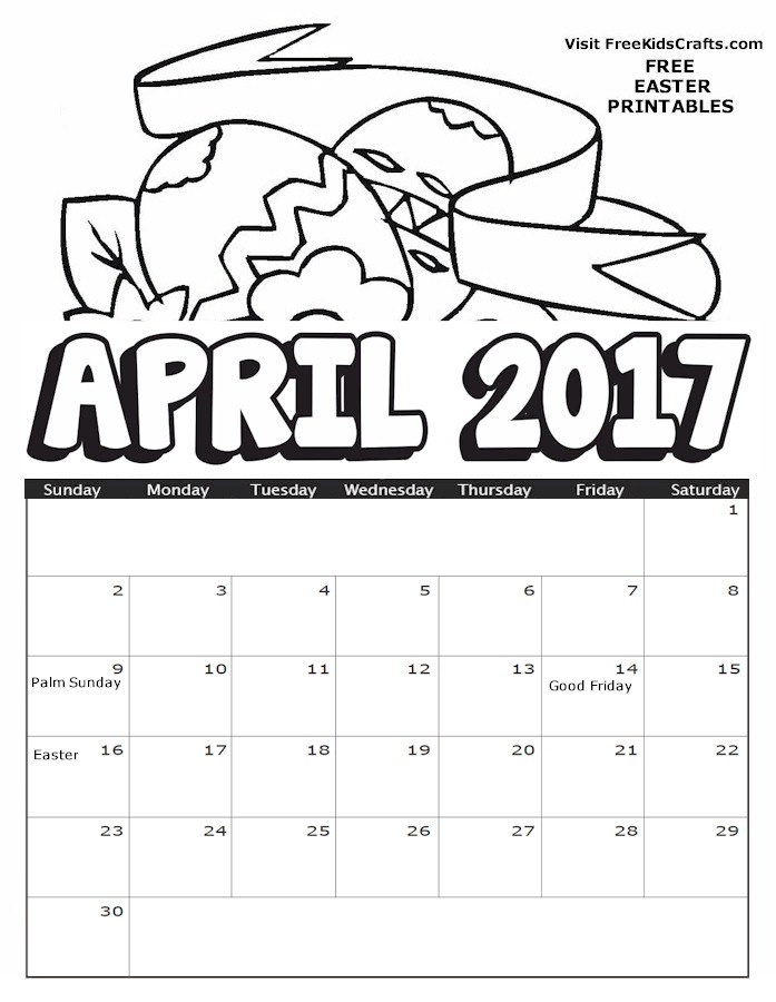 2017 april coloring calendar for Calendar coloring page