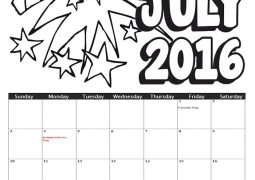 Image of 2016 July Coloring Calendar
