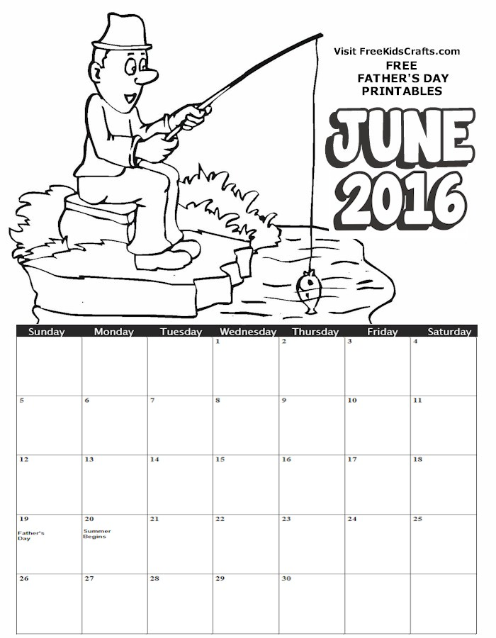 Image of 2016 June Coloring Calendar