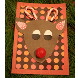 Image of Candy Cane Reindeer Card