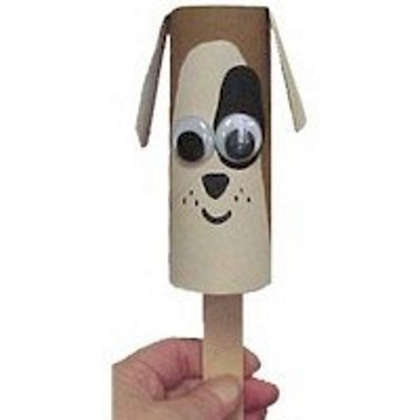 Dog puppet made from cardboard tube.
