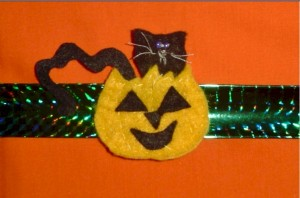 Image of Halloween Black Cat Slap Bracelet