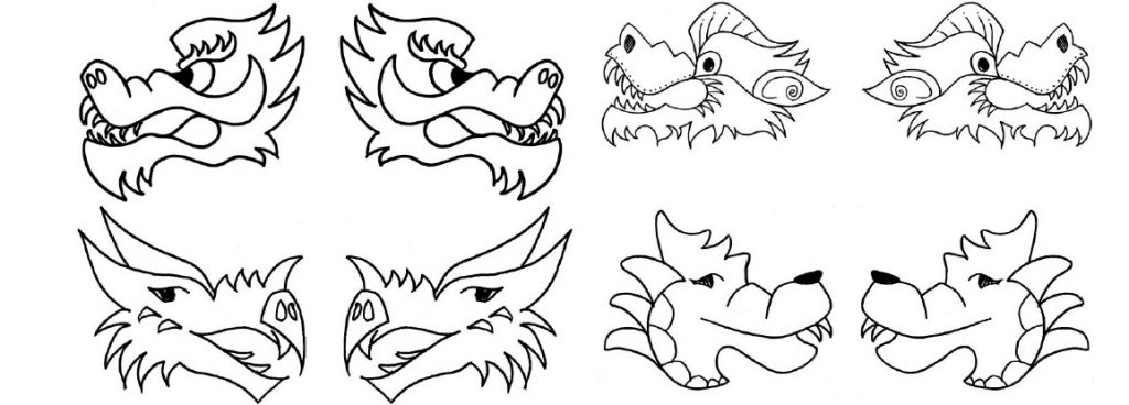 Chinese dragon puppet for Dragon cutout template