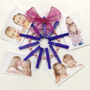 Image of Clothespin Wreath Photo Holder