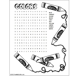 printable colors word search - Childrens Printable Puzzles