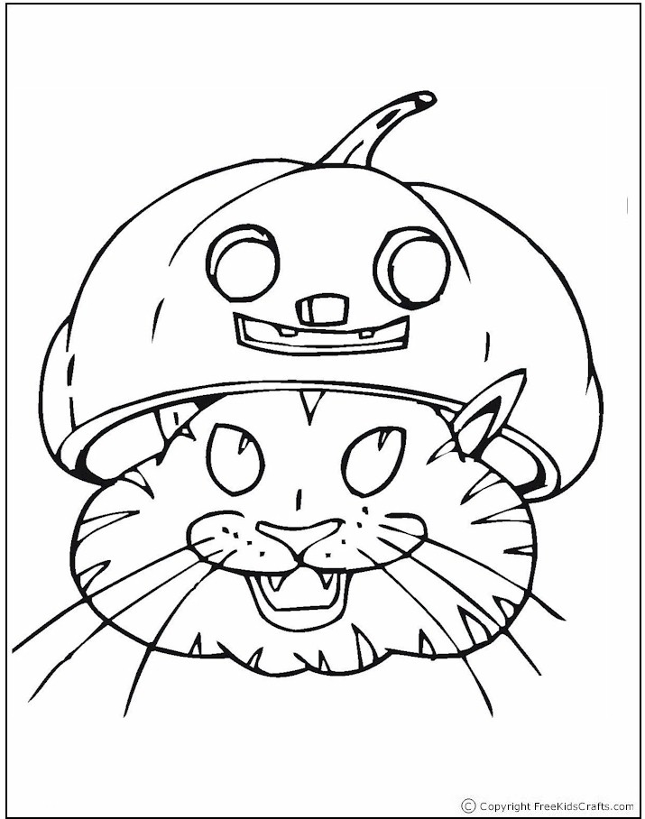 coloring-page-cat-pumpkin