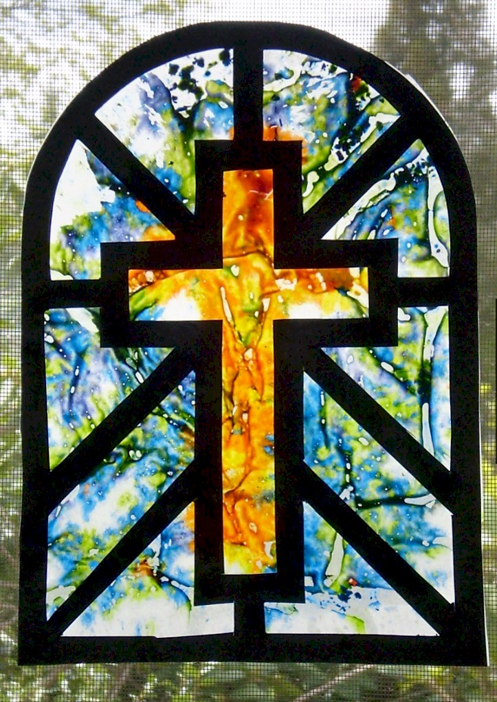 Faux Stained Glass Melted Crayon Cross Sun Catcher