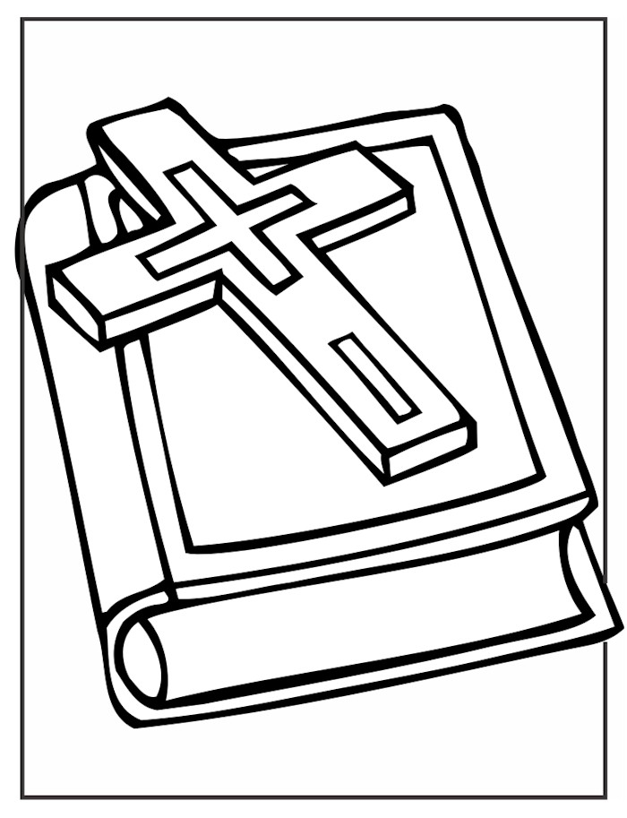 Image Of Lenten Prayer Chain Cross And Bible Coloring Page