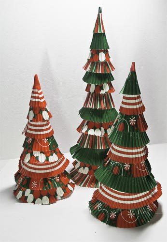 Image of Christmas Trees Made From Cupcake Liners