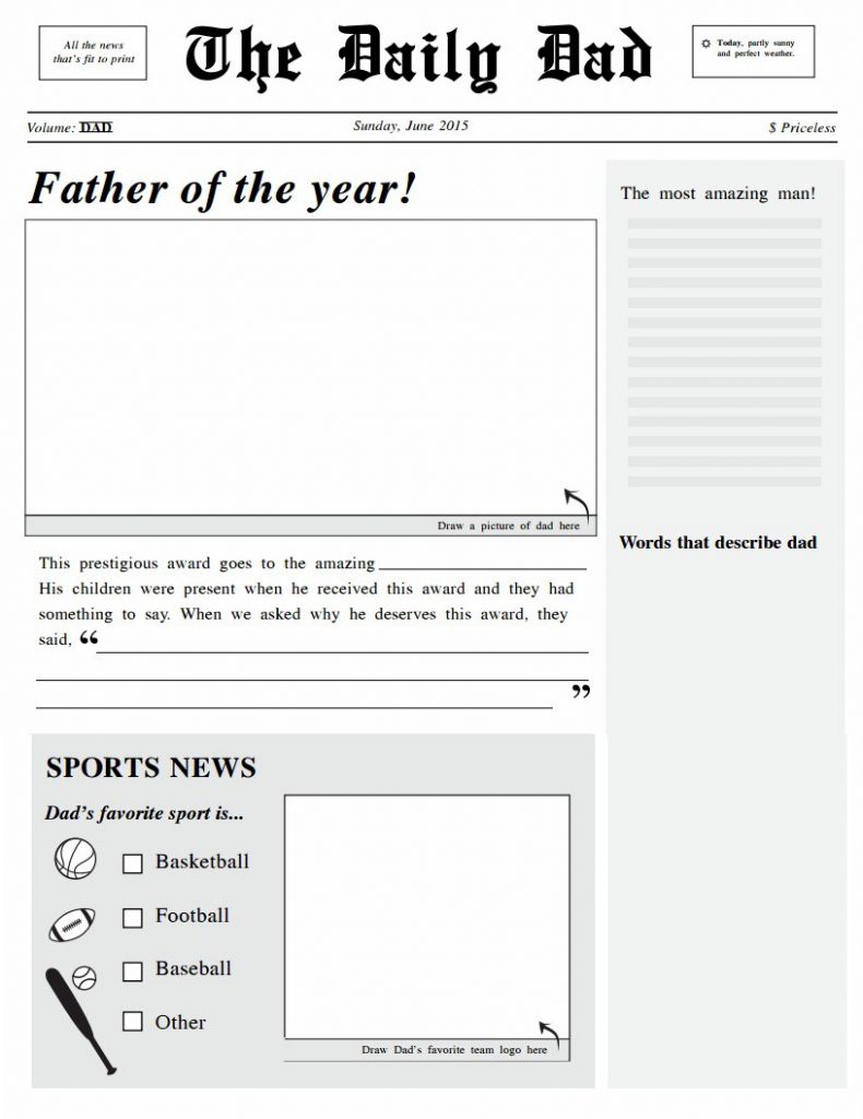 Image of Headliner Dad Newspaper