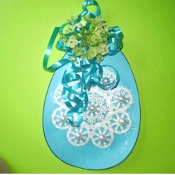 Image of Doily Decorated Easter Eggs