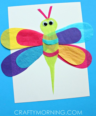 Colorful Tissue Paper Dragonfly