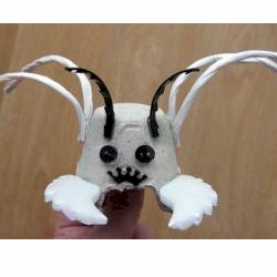 how to make a bug creature from an egg carton