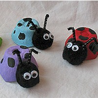 Image of Colorful Egg Carton Lady Bugs