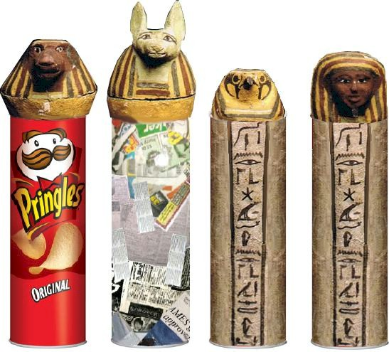 Image of Paper Maché Egyptian Canopic Jars