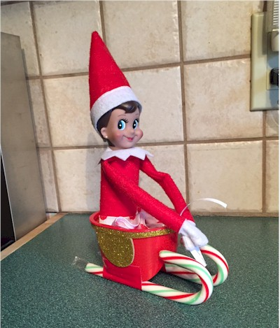 Make A Candy Cane Sleigh For Your Elf On The Shelf