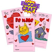 Image of Valentine Coloring Page Card
