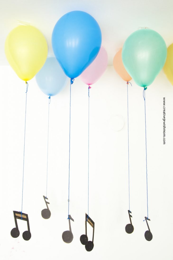 Faux Floating Balloons with Musical Notes