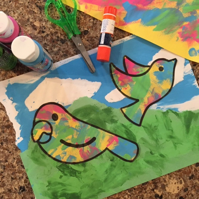 Recycled Finger Paint Birds