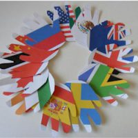 Image of flag handprint wreath