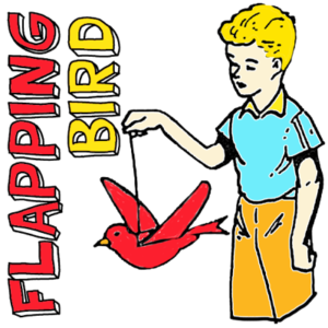 Directions for making a flying paper bird on a string.