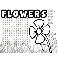 Flower Word Search and Coloring
