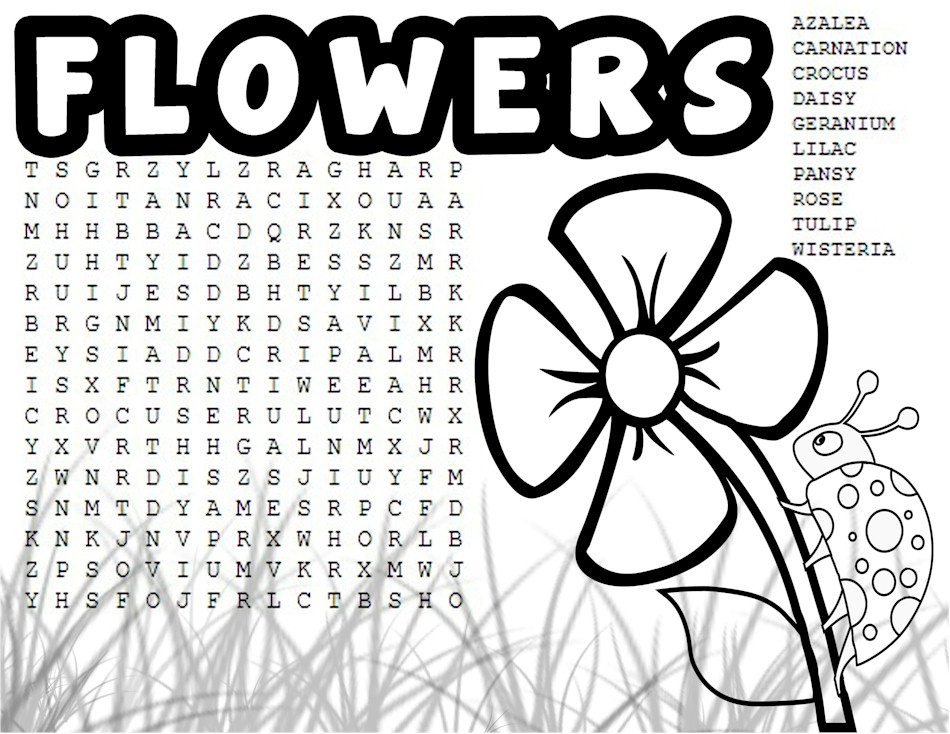 Flower Word Search And Coloring Page