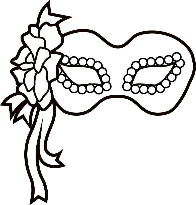 flowered-mardi-gras-mask-bw