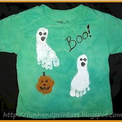 Image of Footprint Ghost Halloween Shirt