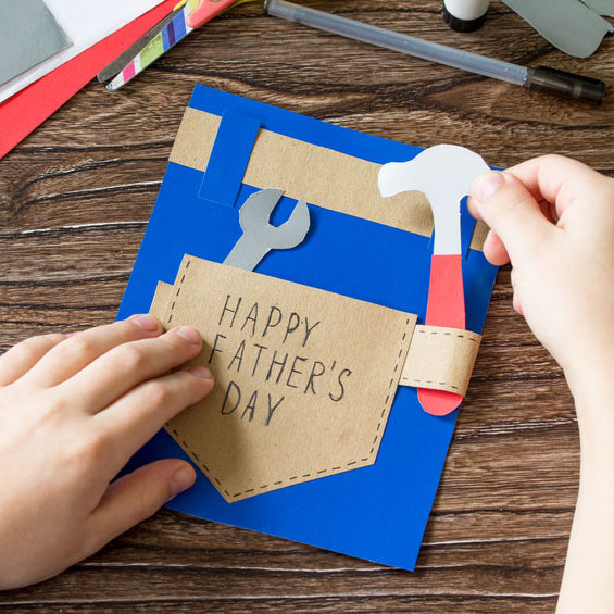 Card with tool belt and tools for kids to mae